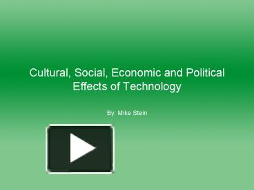 political social and economical effects of