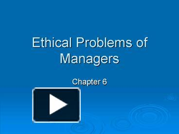 ethical problems in management