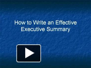 how to write a summary of a presentation Being asked to write an executive summary, whether for a policy paper, pamphlet, briefing paper or report, may be a daunting prospect if you've never done it before however, ask a few questions, and keep a few simple rules in your mind and it becomes much more straightforward.