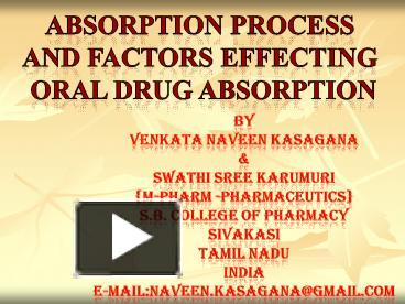 PPT – absorption of drugs PowerPoint presentation | free to