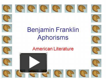 ben franklin aphorisms and meanings
