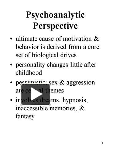 an analysis of freuds perspective on dreams Freudian theory centers around ideas and works of famed psychoanalyst sigmund freud dream analysis.