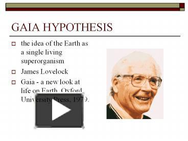 an analysis of symbiosis in the gaia hypothesis by lovelock
