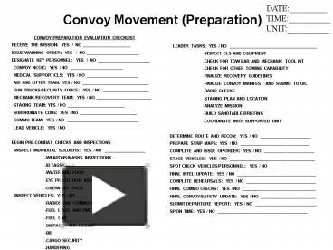 Ppt convoy preparation evaluation checklist powerpoint for Army briefing template