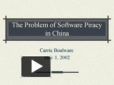 the problems of software piracy