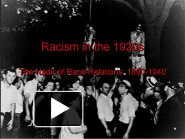 the nadir of race relations Learn about the era of jim crow segregation and the larger context within which it flourished, the nadir of american race relations, in this interactive tutorial check out the era of jim crow and the nadir of race relations: part 2 here.