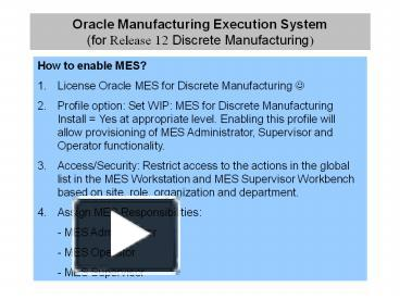 Ppt Oracle Manufacturing Execution System For Release 1