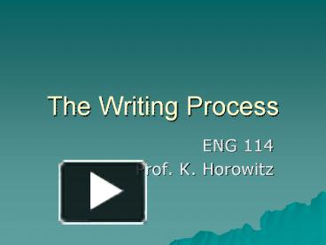 the writing process powerpoint presentation