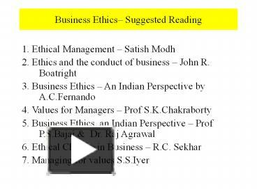 PPT – Business Ethics– Suggested Reading PowerPoint