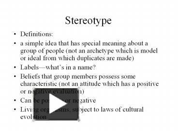 stereotype powerpoint presentation