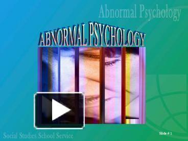 abnormal psychology in the media Discovering psychology: updated edition: the mind: teaching modules: the brain: teaching modules social science discipline page: 1 looking at abnormal behavior the.