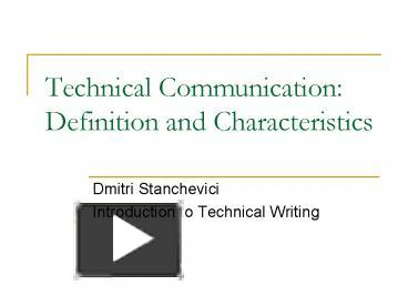 technical communication definition and characteristics