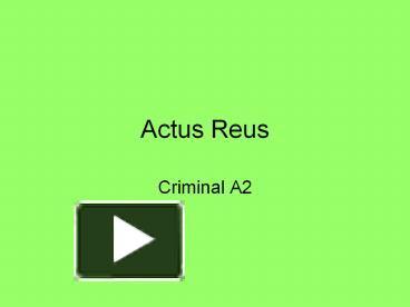 ingredients of actus reus essay