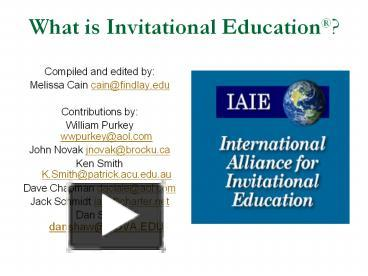 Ppt What Is Invitational Education Powerpoint Presentation