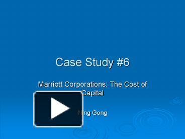 marriott corporation a case