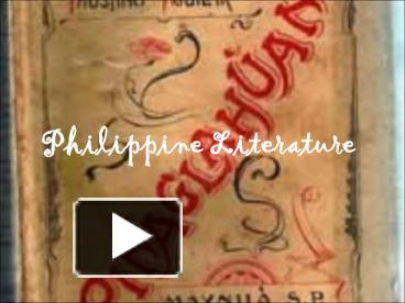 PPT – Philippine Literature PowerPoint presentation | free to