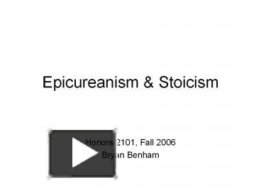 an analysis of epicureanism and stoicism