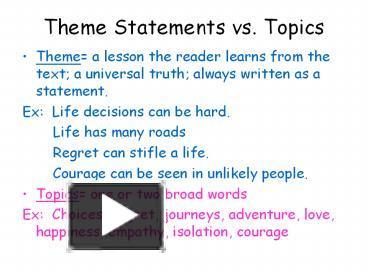 universal theme statements