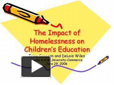 impact of homelessness on child education essay The impact of homelessness on children yvonne rafferty marybeth shinn advocates for children, long island city, ny new york university.