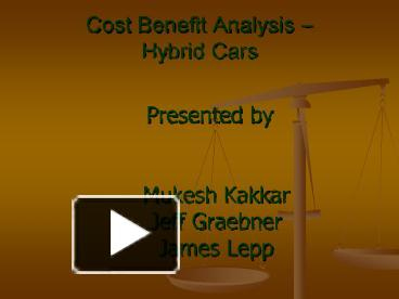 the application of the cost benefit analysis to my car buying decision