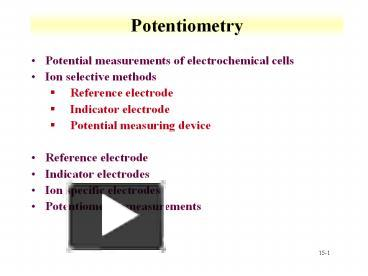 PPT – Potentiometry PowerPoint presentation | free to