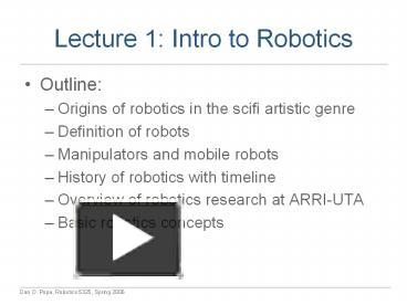 Ppt Lecture 1 Intro To Robotics Powerpoint Presentation Free To