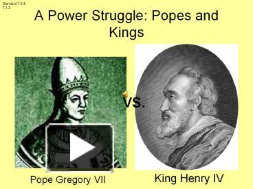 PPT – A Power Struggle: Popes and Kings PowerPoint ...