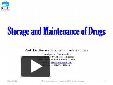 PPT – Storage and Maintenance of Drugs PowerPoint