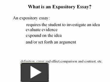 ideas for an expository essay The purpose of this lesson is to introduce students to effective prewriting strategies use interactive online essay map to organize and develop ideas for an expository essay.