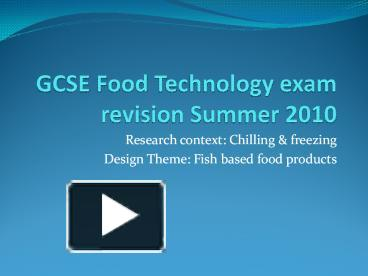 catering exam gcse revision