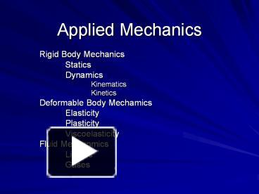 PPT – Applied Mechanics PowerPoint presentation | free to download