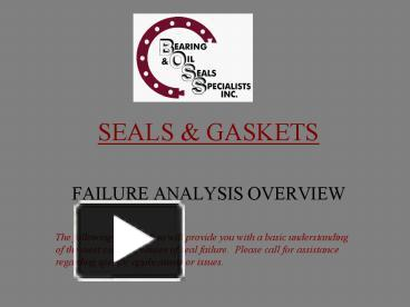 PPT – SEALS & GASKETS PowerPoint presentation | free to