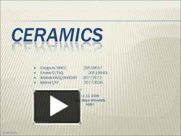 PPT – CERAMICS PowerPoint presentation | free to download