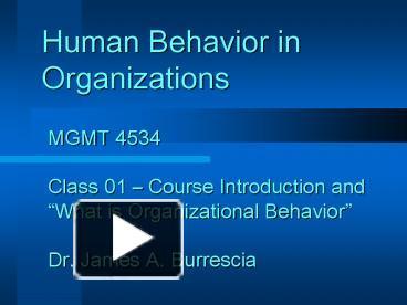 human behavior in organization introduction