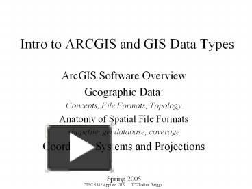 PPT – Intro to ARCGIS and GIS Data Types PowerPoint presentation