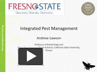 an essay on integrated pest management entomologists