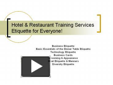 PPT Hotel Restaurant Training Services Etiquette For Everyone PowerPoint Presentation