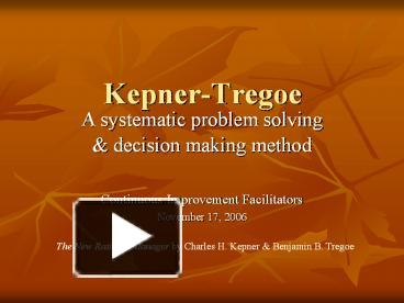 kepner tregoe problem solving and decision making template