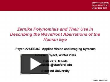 PPT – Zernike Polynomials and Their Use in Describing the