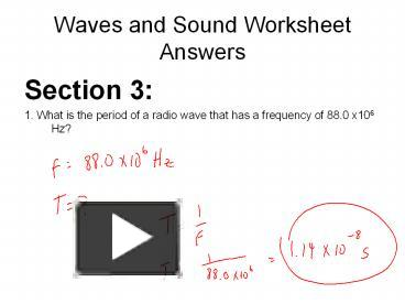 Ppt Waves And Sound Worksheet Answers Powerpoint Presentation