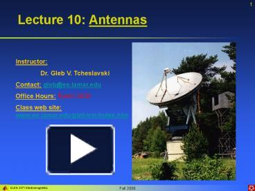 PPT – Lecture 10: Antennas PowerPoint presentation | free to