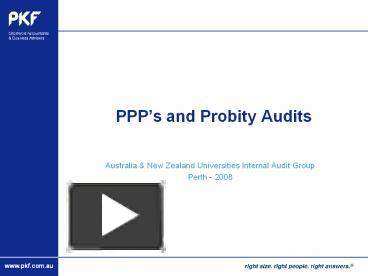 PPT – PPP\'s and Probity Audits PowerPoint presentation | free to ...