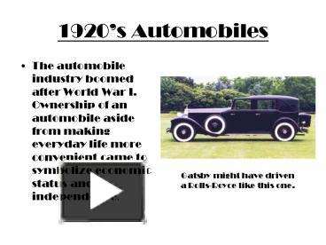 ppt 1920s automobiles powerpoint presentation free to download