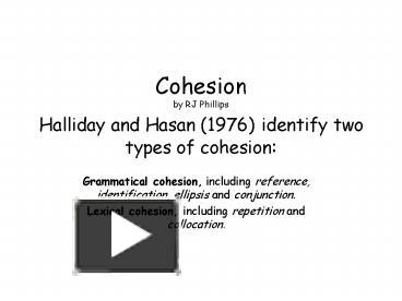 coherence halliday and hasan s theory In an attempt to better understand halliday and hasan's those who are familiar with halliday's theory of relationships between cohesion and coherence in.