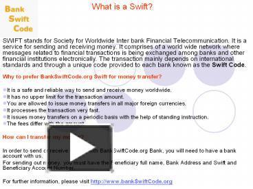 Ppt Swift Money Transfer Point Presentation Free To