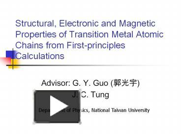 PPT – Structural, Electronic and Magnetic Properties of