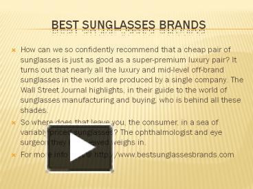 912e33198c4 PPT – best sunglasses brands PowerPoint presentation