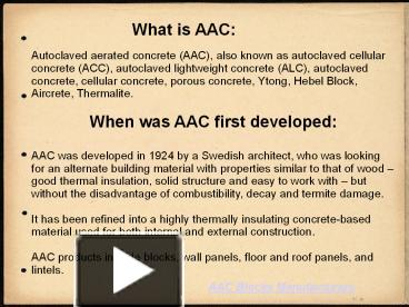 PPT – AAC (Autoclaved Aerated Concrete) Blocks PowerPoint