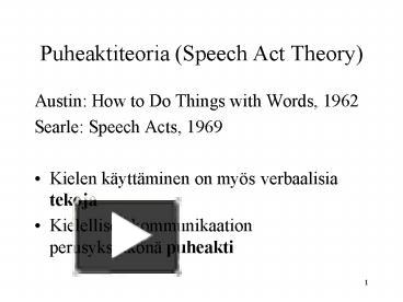 act austin speech thesis Any pragmatic paper, thesis or book, makes reference to it, or some of its parts, in one way or another, hence showing its importance in the pragmatic literature the.