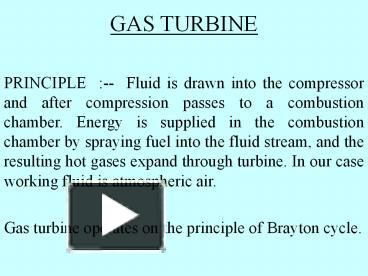 PPT – GAS TURBINE PowerPoint presentation | free to download